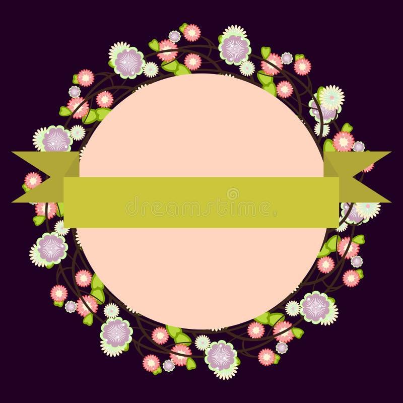 Malplaatje voor uitnodiging, embleem, prentbriefkaar met bloemenkader en ye stock illustratie