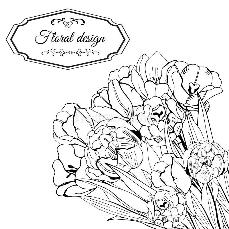 Malplaatje voor uitnodiging of groetkaart van tot bloei komende tulpenbloemen Hand getrokken zwart-wit schets op witte achtergron vector illustratie