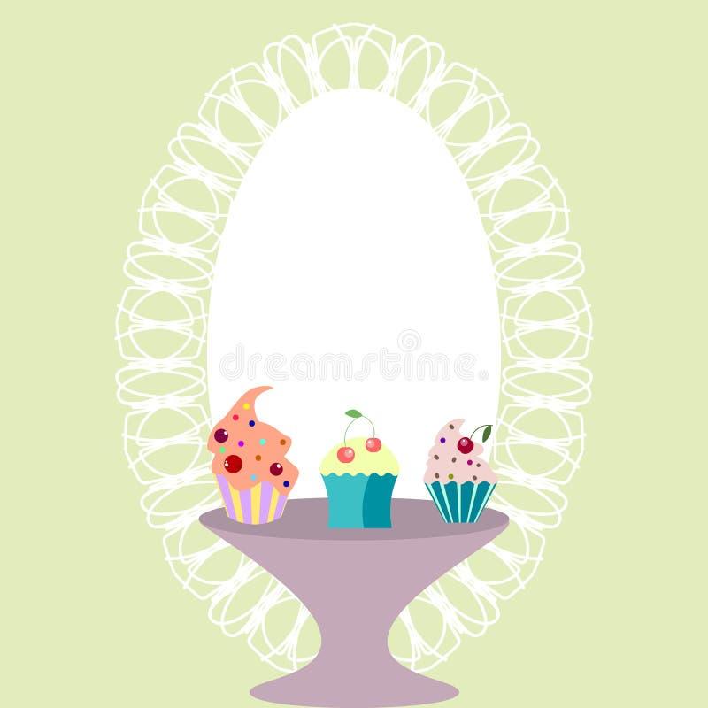 Malplaatje voor uitnodiging, prentbriefkaar, embleem met leuke cupcakes stock illustratie