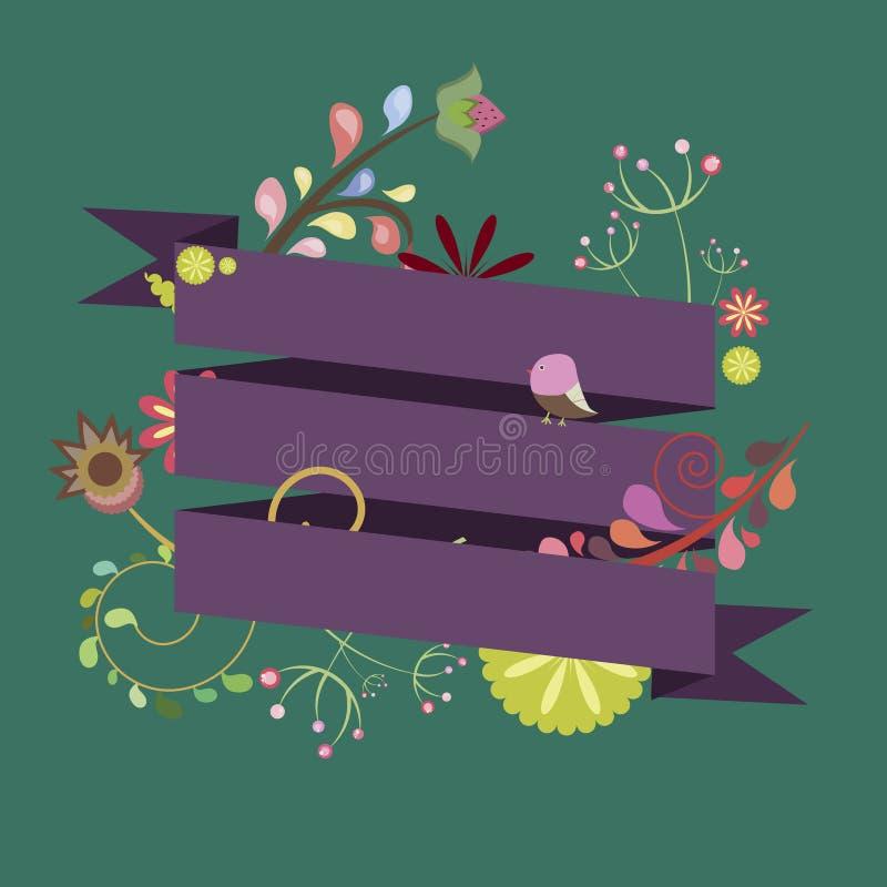 Malplaatje voor uitnodiging, prentbriefkaar, embleem met linten en bloemen stock illustratie