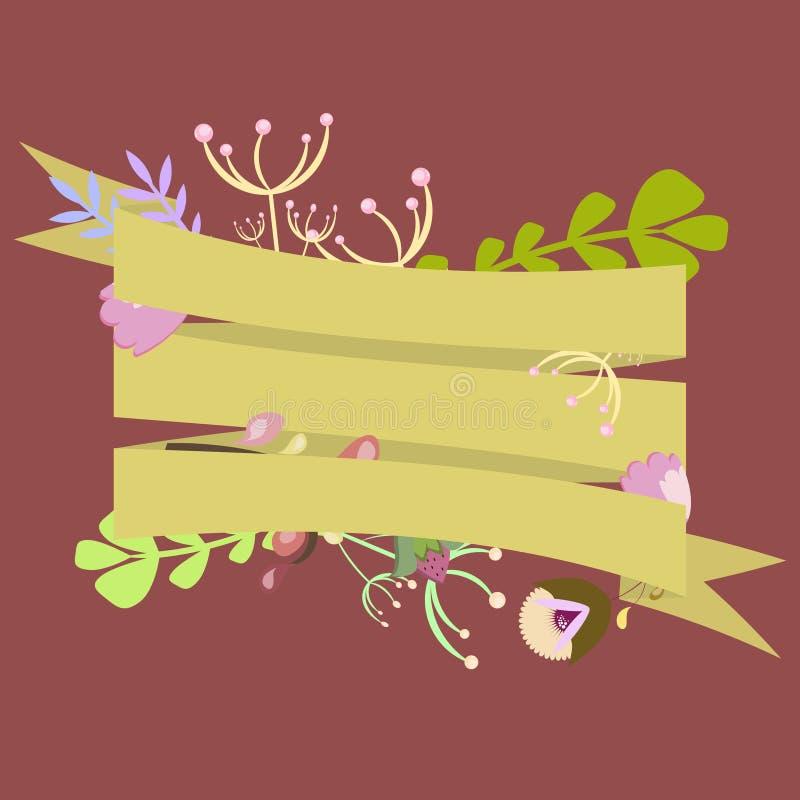 Malplaatje voor uitnodiging, prentbriefkaar met linten en decoratief stock illustratie