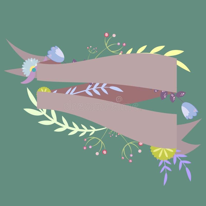 Malplaatje voor uitnodiging, prentbriefkaar met linten en decoratief vector illustratie