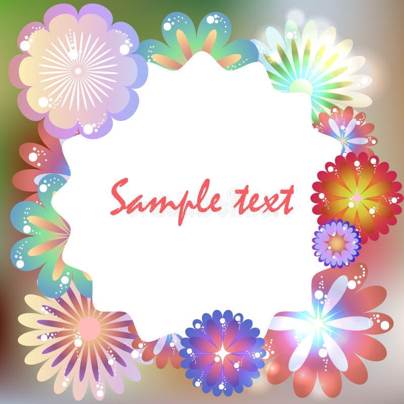 Malplaatje voor verjaardag, uitnodiging, prentbriefkaar met multicolored FL vector illustratie