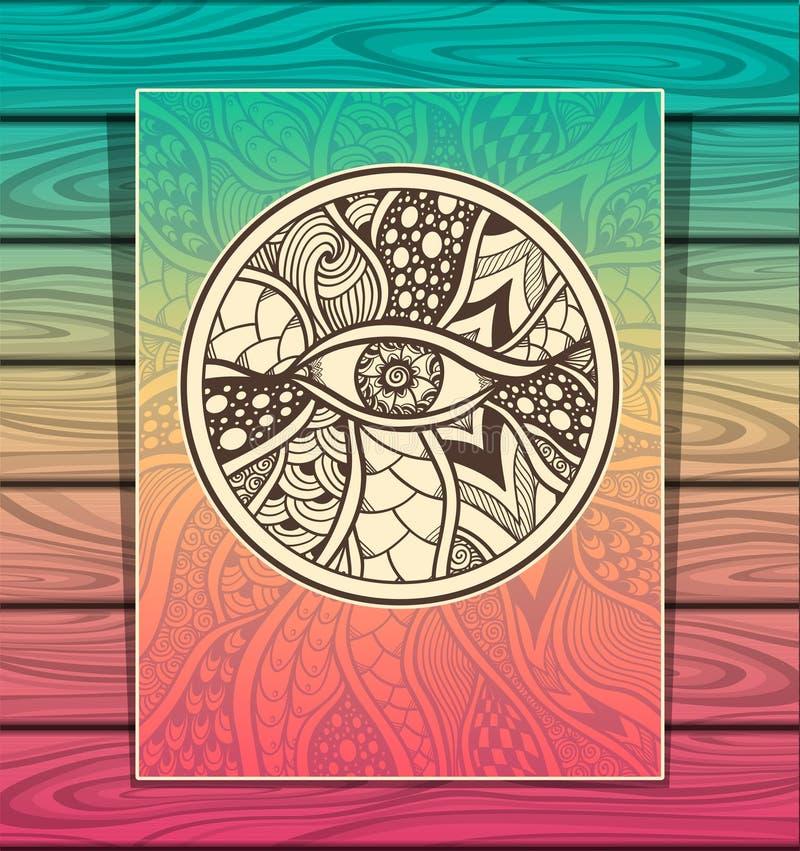 Malplaatje zen-Krabbel of zen-Verwarring textuur of patroon met oog volledige kleuren royalty-vrije illustratie