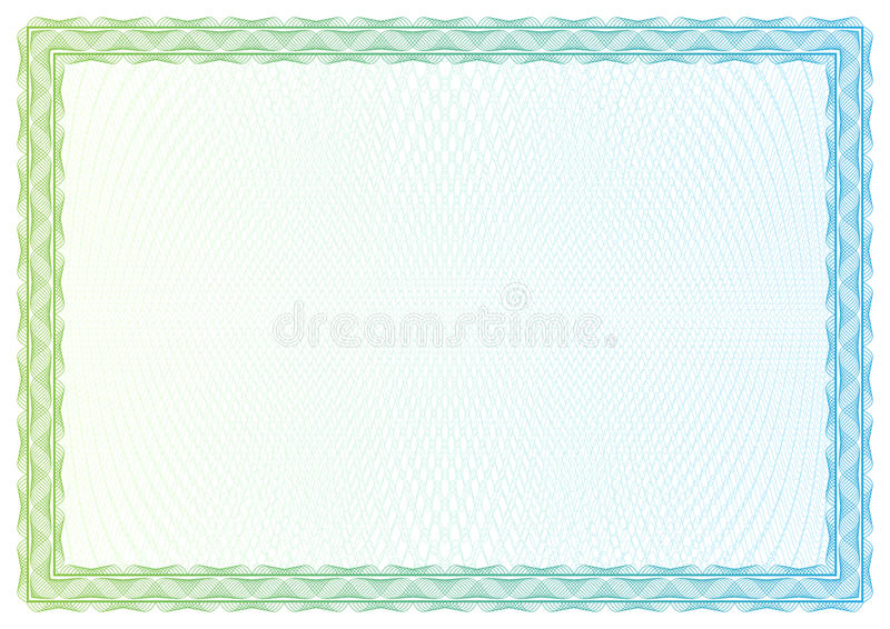 Malplaatjecertificaat, munt en diploma's stock illustratie
