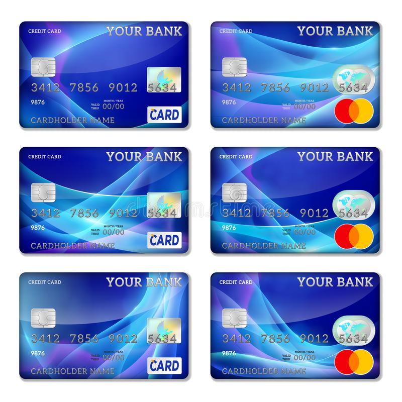 Malplaatjecreditcards van blauwe kleur, vectorreeks vector illustratie