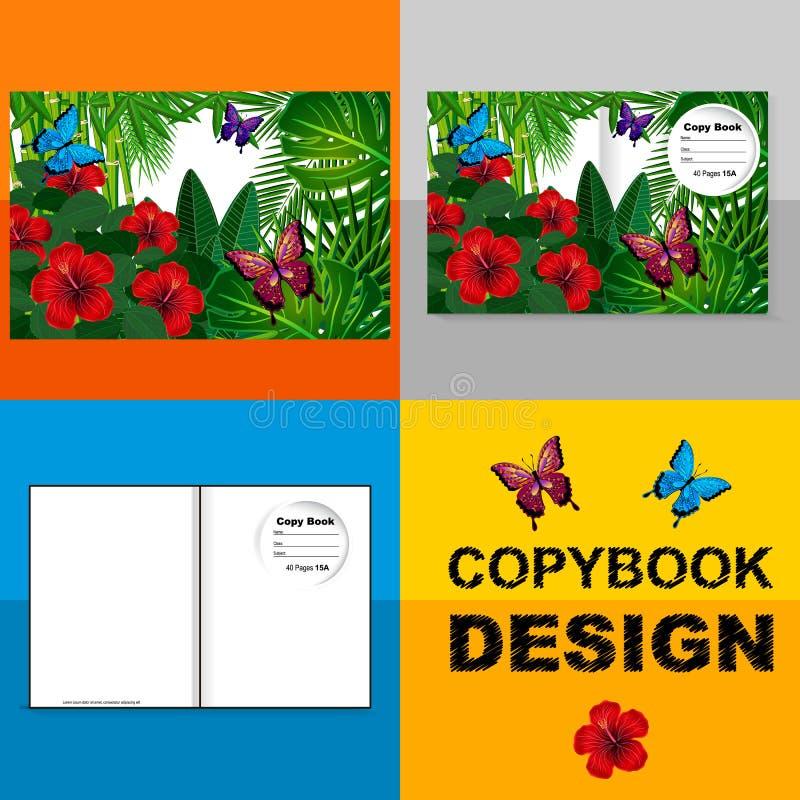 Malplaatjedekking van een voorbeeldenboek met een in ontwerp: hibiscusbloem royalty-vrije illustratie