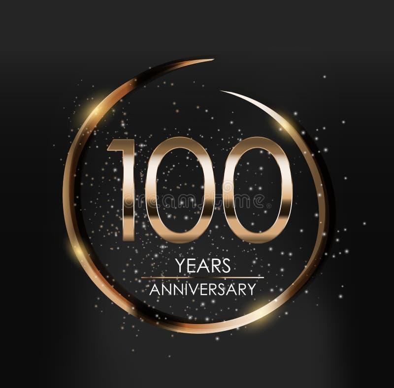 Malplaatjeembleem 100 van de Verjaardags Vectorjaar Illustratie royalty-vrije illustratie