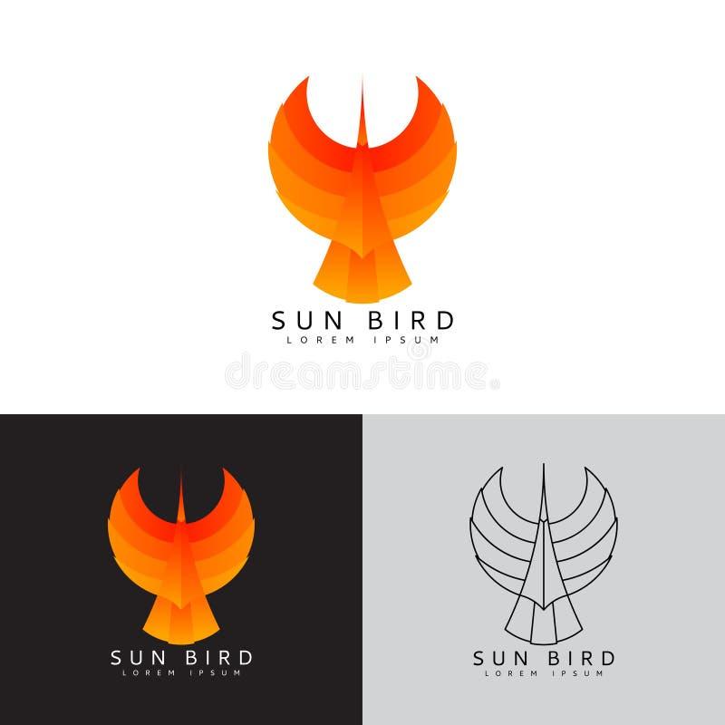Malplaatjeembleem van zonvogel royalty-vrije illustratie