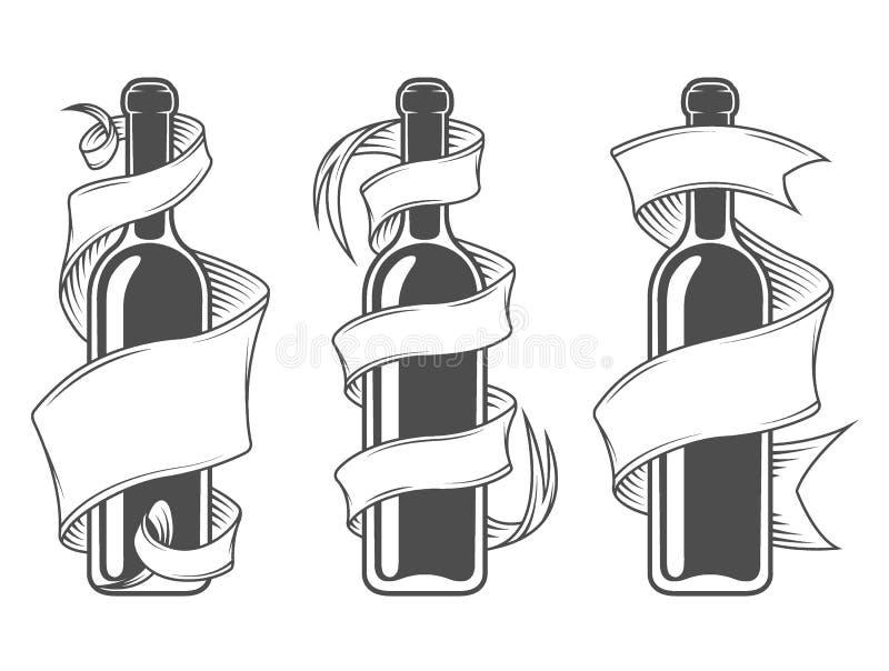 Malplaatjeflessen met lint royalty-vrije illustratie
