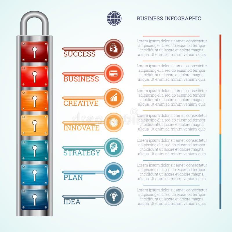 Malplaatjehangslot met zeven sleutelgaten en sleutels royalty-vrije illustratie