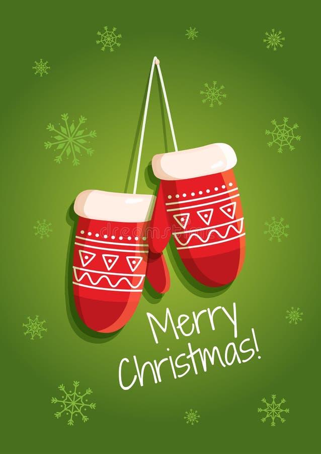 Malplaatjekerstmis en Nieuwjaarskaart met vakantiegroeten en vuisthandschoenen vector illustratie