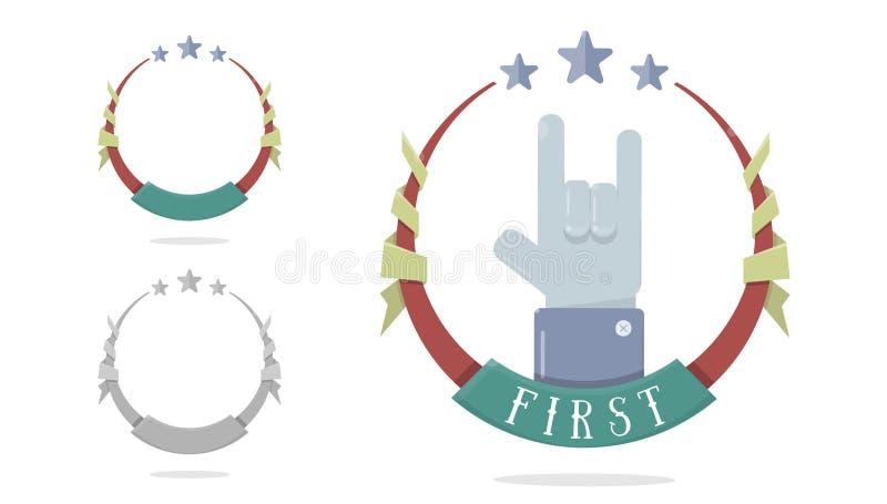 Malplaatjemedaille voor eerste plaats Trofee, winnaartoekenning op witte achtergrond wordt geïsoleerd die Voltooiing, overwinning vector illustratie