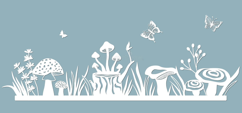 Malplaatjeopen plek voor om met een laser van document te snijden Lijn met paddestoelen, gras, giftige paddestoelen en vlinders v vector illustratie