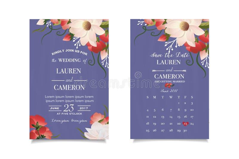 Malplaatjeprentbriefkaar met waterverfbloemen en bladeren Sparen de Datum vector illustratie