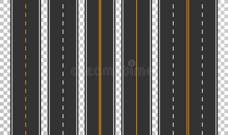 Malplaatjereeks rechte asfaltwegen Naadloze wegachtergrond Vectoreps 10 vector illustratie