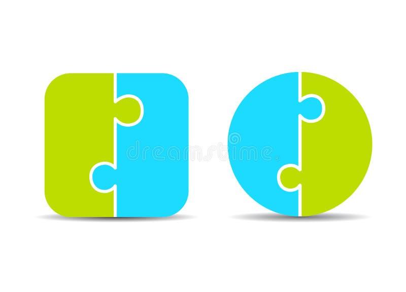 Malplaatjes de in twee delen van het raadseldiagram stock illustratie
