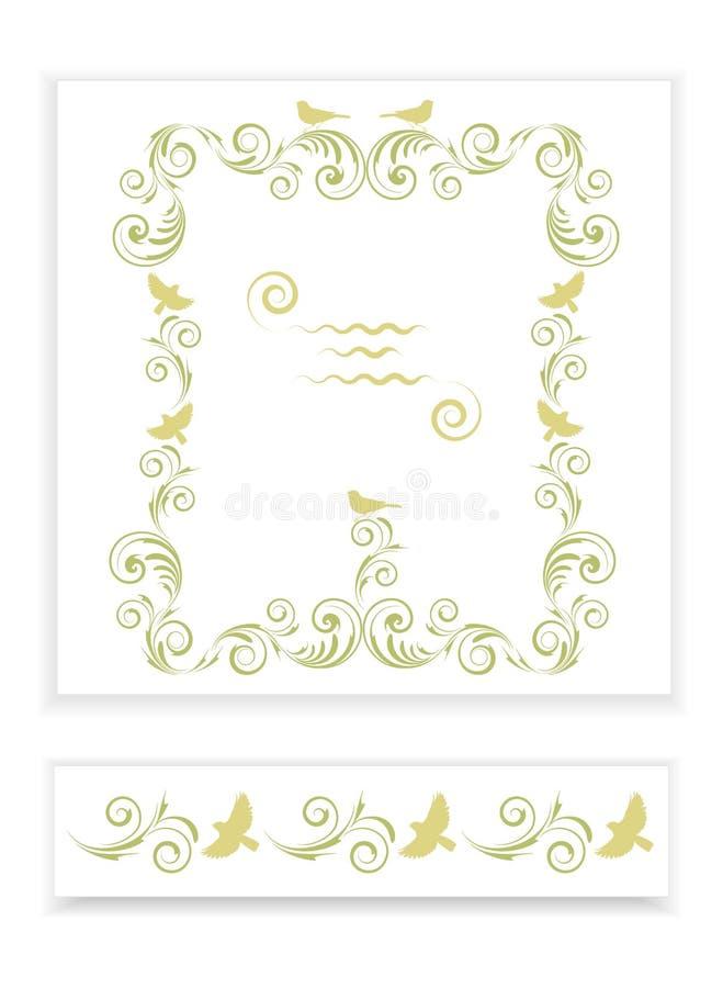 Malplaatjes met gestileerde patroon en vogels royalty-vrije illustratie