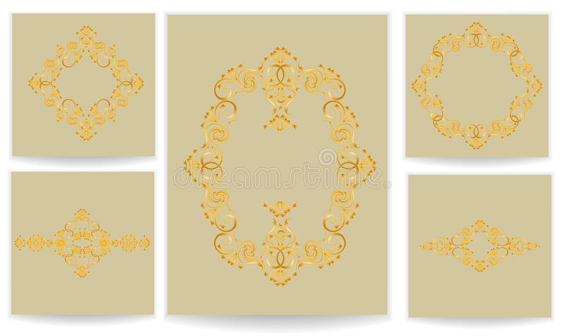 Malplaatjes met gestileerde patroonreeks royalty-vrije illustratie