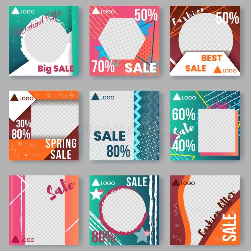 Malplaatjes met Gradiëntelementen dat worden geplaatst Advertentieaffiches stock illustratie