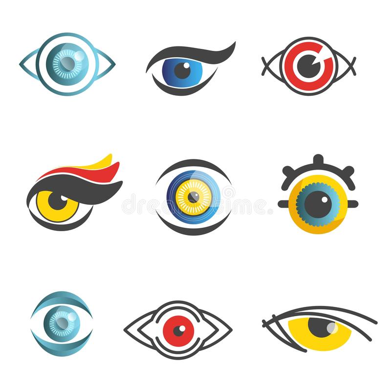 Malplaatjes van de technologiepictogrammen van de ogen isoleerden de vectoroftalmologie optische oog vlakke reeks royalty-vrije illustratie