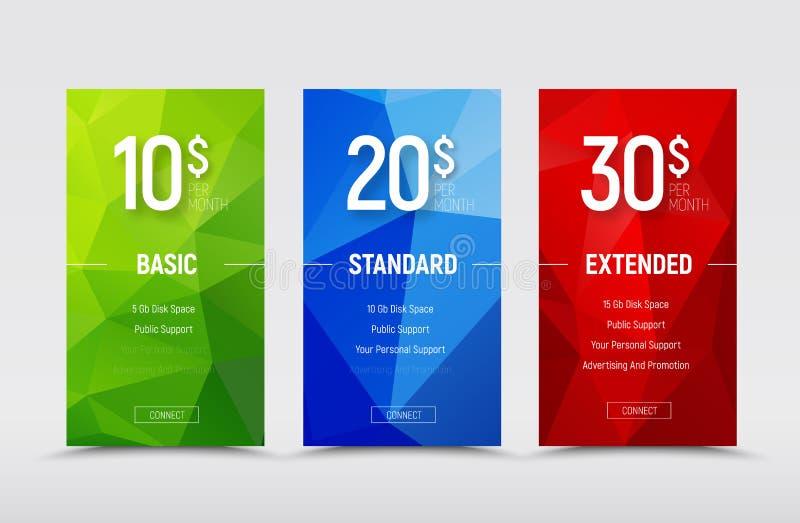 Malplaatjes van prijslijsten met veelhoekige abstracte groene, blauwe a stock illustratie