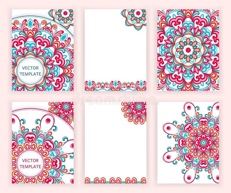 Malplaatjes voor vlieger, banner, brochure, aanplakbiljet, affiche, groetkaart Abstracte achtergronden met kleurrijke mandalas stock illustratie