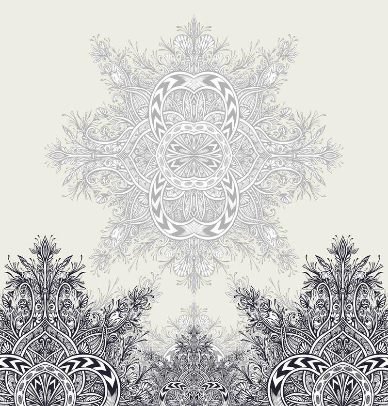 Malplaatjevlieger of etiketachtergrond van Uitstekende Abstracte bloemenornamentzwarte op wit vector illustratie