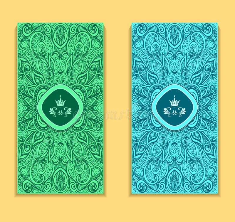Malplaatjevlieger of pakket met zen-Krabbel patroon in marien blauw royalty-vrije illustratie