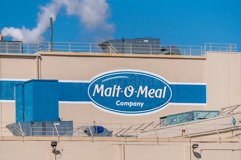 Malt-O-Meal Manufacturing Mill and Trademark Logo fotografia de stock royalty free