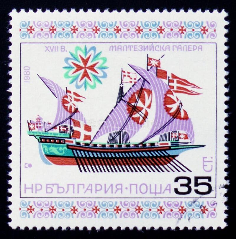 Maltański galery XVII wiek, serii ` statków Historyczny ` około 1980, obrazy stock