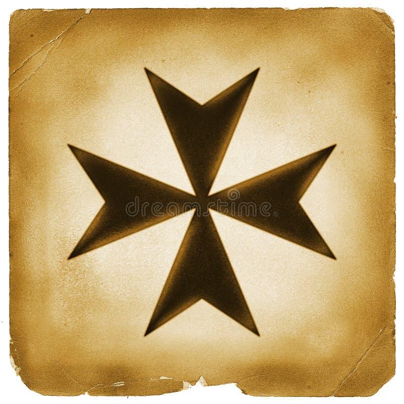 Maltańskiego krzyża symbol na starym papierze obrazy royalty free