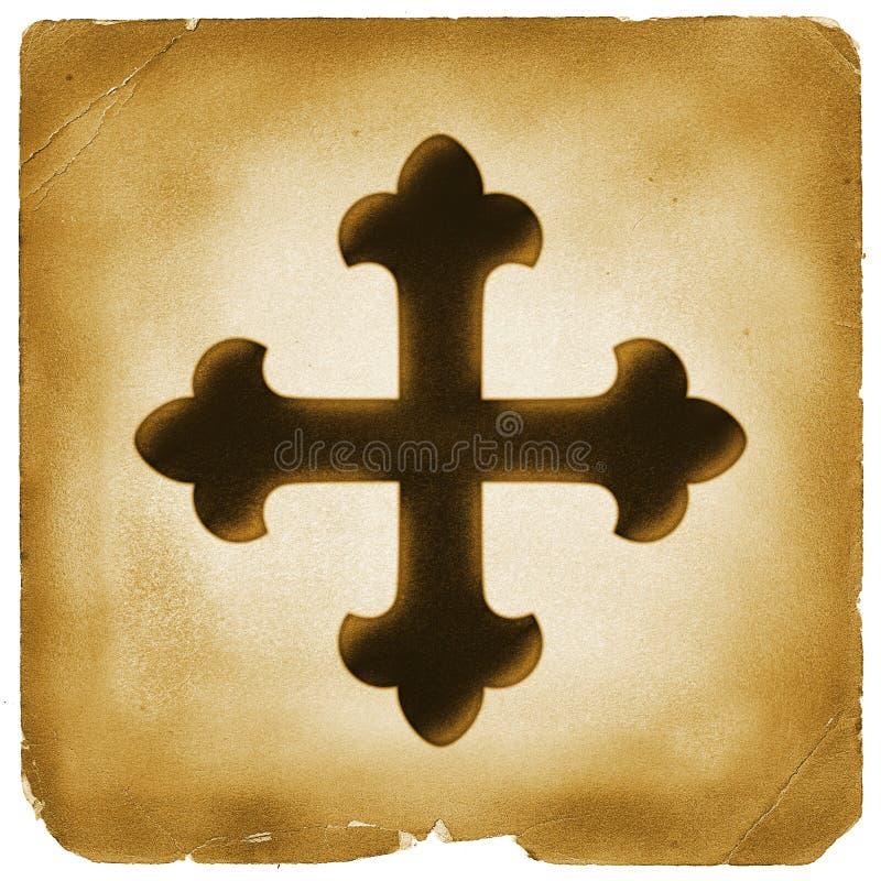 Maltańskiego krzyża symbol na starym papierze zdjęcia royalty free