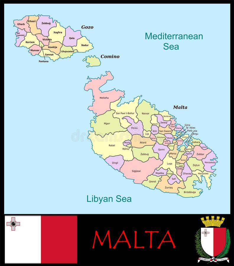 Malta Administrative Divisions Stock Illustration Illustration of