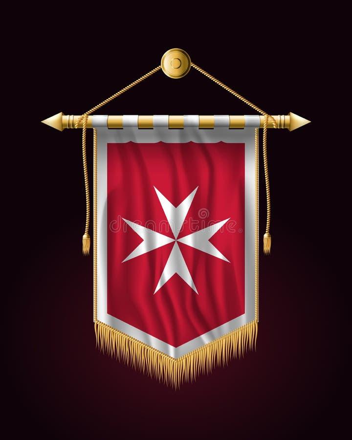 Malta bandery Wersja z Maltańskim krzyżem Świąteczny Pionowo Bann royalty ilustracja