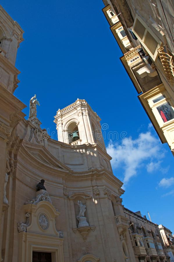 Malta: Baroque architecture in the Old town of Valletta royalty free stock photo