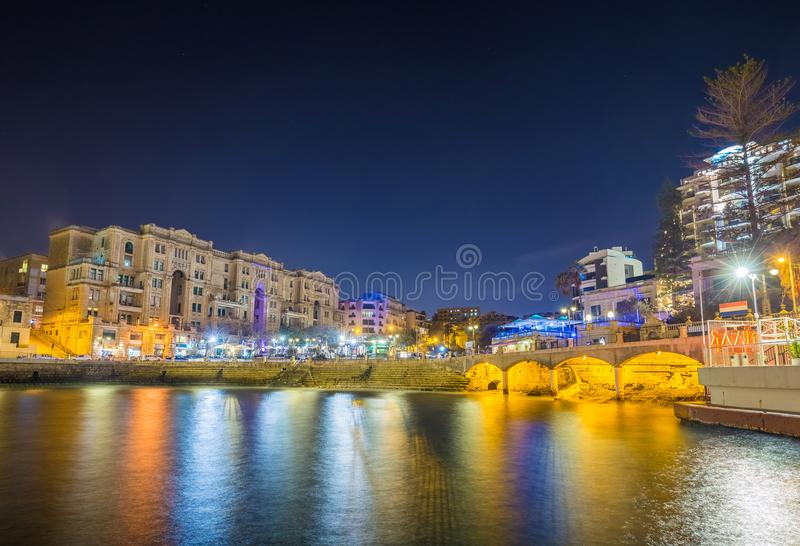 Malta- Colorful lights of the beautiful Balluta Bay royalty free stock images