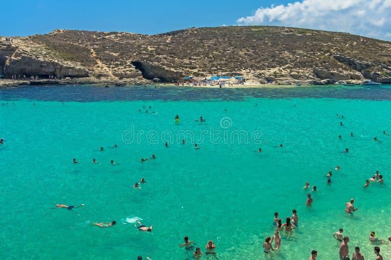 Malta, Comino, blaue Lagune stockbilder