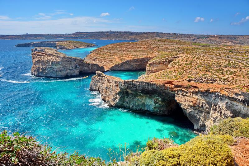 Malta Comino kust fotografering för bildbyråer