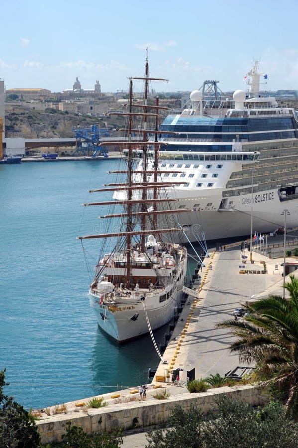Malta cruise ships royalty free stock photos