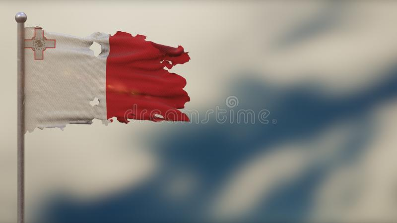 Malta 3D tattered waving flag illustration on Flagpole. Isolated on blurred sky background with space on the right side. Depth of Field effect stock illustration
