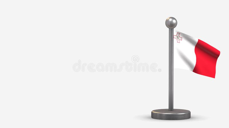 Malta 3D waving flag illustration on tiny flagpole. Malta 3D waving flag illustration on a tiny metal flagpole. Isolated on white background with space on the stock illustration