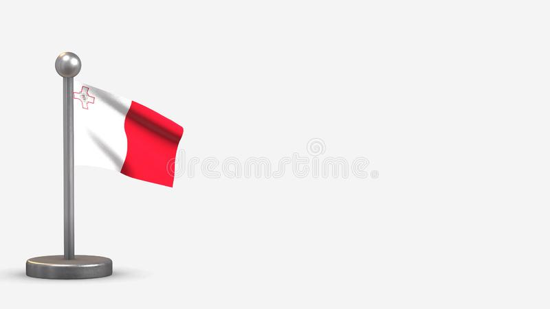 Malta 3D waving flag illustration on tiny flagpole. Malta 3D waving flag illustration on a tiny metal flagpole. Isolated on white background with space on the vector illustration