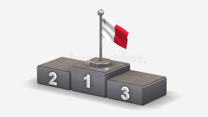 Malta 3D waving flag illustration on winner podium. Malta 3D waving flag illustration on winner podium with three rank places. Isolated on white background royalty free illustration