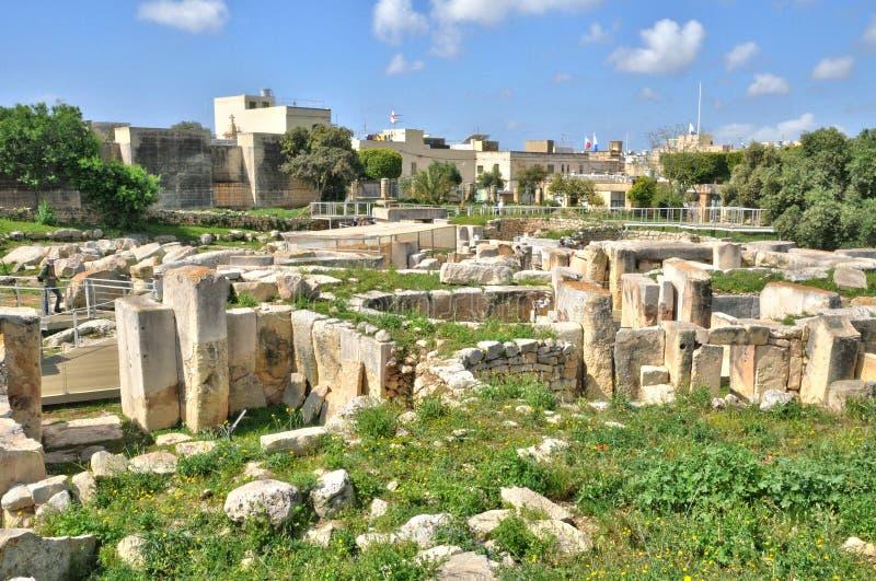 Malta, de megalitische tempels van Tarxien stock afbeeldingen