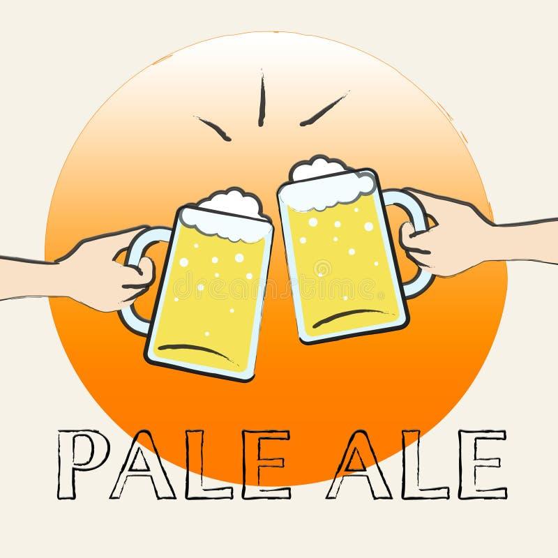 Malta de Pale Ale Shows Light Beer Or stock de ilustración