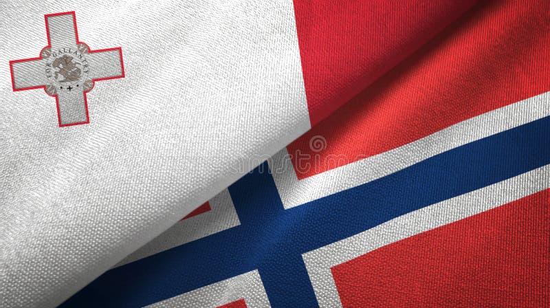 Malta en Noorwegen twee vlaggen textieldoek, stoffentextuur stock illustratie