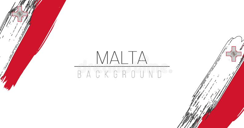 Malta flag brush style background with stripes. Stock vector illustration isolated on white background. vector illustration