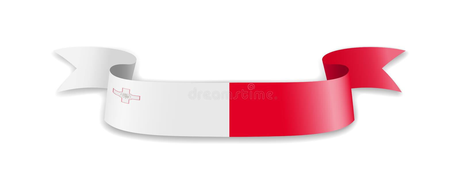 Malta flag in the form of wave ribbon stock illustration