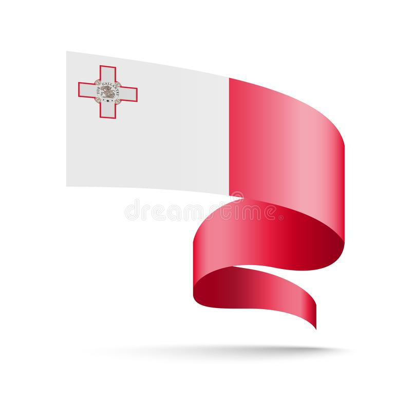 Malta flag in the form of wave ribbon royalty free illustration
